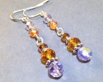 Purple And Orange Czech Glass Earrings - Silver Earrings - Boho Jewelry - Pierced Earrings - Long Earrings - Dangle Earrings - Gift For Her