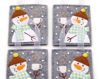 Snowman Christmas Ornaments, Wool and Felt, 4 Ornament Set, Embroidered Handmade Gifts, Coffee Lover Gift, Tea Lover Gift