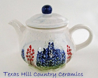 Country Style Ceramic Teapot with Hand Painted Texas Bluebonnet Wildflowers