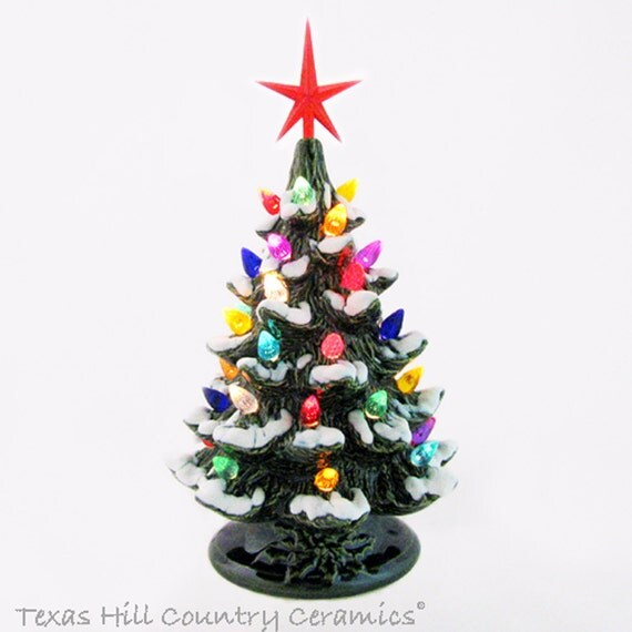 Small Tabletop Holiday Ceramic Christmas Tree with Snow Color Lights and Star 8 1/2 Inches Tall Green Electric Light Base Switch on Cord