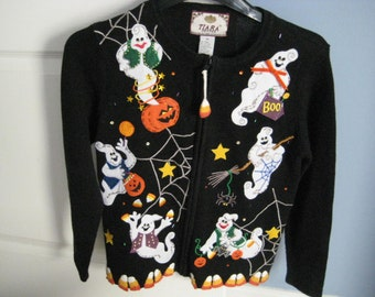 REDUCED Vintage Ugly Ladies Halloween Sweater, Jacket, Zipper, ghosts, pumpkins, candy corn, cobweb, womans, girl  Petite, PP