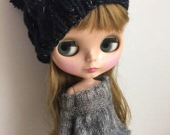 Babydoll Pom-Pom Hat for Blythe sparkling black