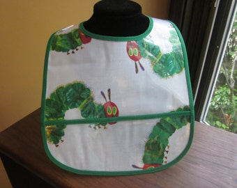 WATERPROOF BIB Wipeable Plastic Coated Baby to Toddler Bib Cute Caterpillar