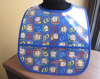 WATERPROOF WIPEABLE Baby to Toddler Wipeable Plastic Coated Bib Blue Curious George