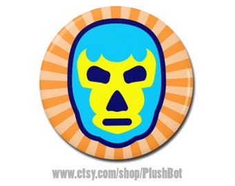 "Luchador Lucha Libre Mask Wrestling Art 1.25"" or 2.25"" Pinback Pin Button Badge"