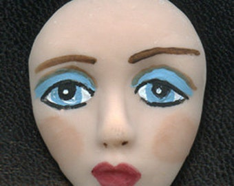 """Polymer Clay Detailed  Blue Eyed  Face Cab 1 1/2""""  X 1 1/4"""" TEF 1"""