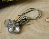 petite black tourmalinated quartz earrings - rustic oxidized silver, black rutilated wire wrapped