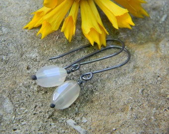 SALE Petite white moonstone earrings - oxidized silver