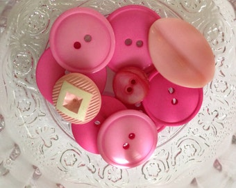 Vintage Assorted Set of 10 Pink Buttons, Plastic Buttons, Sewing Buttons, Craft Supply, Crafting and Sewing Projects