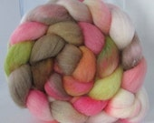 Hand Dyed Polwarth Wool Combed Top Roving  (4.0 oz.) - VINTAGE - Spinning Fiber Hand Painted Kettle Dyed Braid Needle Felting Photo Prop