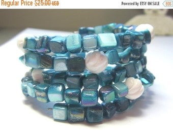 CIJ 35% OFF Blue Shell and White Coral Memory Bracelet.  Turquoise Blue Shell Memory Bracelet. Blue and White Shell Bracelet.