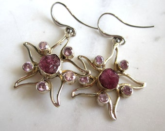 Raw Pink Sapphire and Kunsite Stering Silver Starfish Earrings, Gemstone Starfish Earrings, Under 50, Gifts for Her,