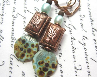 Turquoise Raku Lampwork Leaf And Copper Earrings.  Light Turquoise Lampwork and Copper Earrings.
