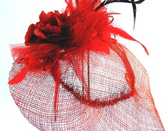 """Red Sinamay HAT """"Ruby"""" Red Roses, Netting, Feathers, Ribbons, Red Hat Luncheon, Victorian Afternoon Tea"""