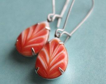 Orange & White Vintage Glass Leaf Earrings - Silver Plated - Surgical Steel Kidney Earwires