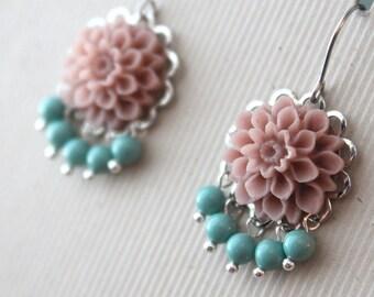 Merritt Earrings - Flowers - Swarovski Pearls - Surgical Steel Earwires