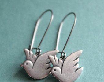Silver Dove Earrings - Surgical Steel Earwires
