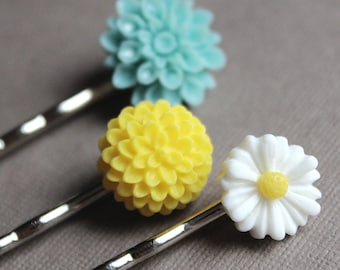 Hello, Spring Hairpins - Aqua, Yellow, White - Silver Plated - Set of 3