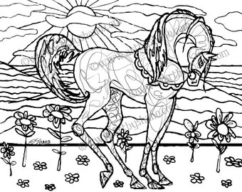 Instant Digital Download Print your Own Coloring Book Page Sheet of Arabian Horse SHANO For Adults or Children for Relaxation or Anxiety