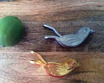 Pair of Silver and Gold Metal Birds Citrus Squeezers Vintage