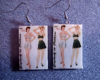 Retro Kitsch Sewing Pattern Lingerie 1940s Dangle Polymer Clay  Earrings Hypo Allergenic Nickle-Free