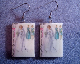 Retro Kitsch Sewing Pattern Bride Bridal Dress Wedding 1960s Dangle Polymer Clay  Earrings Hypo Allergenic Nickle-Free