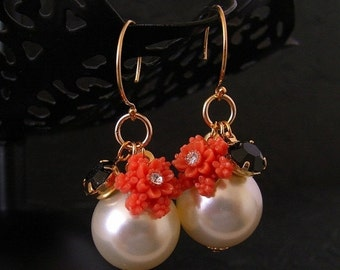 SALE Swarovski Pearl Vintage Coral Flower Black Earrings