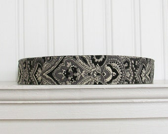 Black and Gray Damask Headband - Fabric Headband - Womens Headband -Adult Headband - Womens Hair Accessories