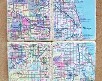 Chicago Map Coasters 2