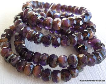 30 3x5mm Milky Amethyst Picasso Rondelle - Czech Glass Beads (G - 179)