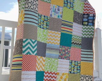 SALE Bright squares Large minky lap or throw quilt
