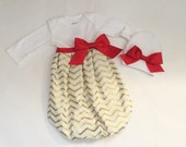 Gold and red chevron BABY GOWN .. new baby coming home hospital outfit....CHRISTMAS outfit... girls clothing