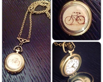 "Bicycle Watch Necklace - Bike Watch - Brass Pocket Watch Necklace -  1.75"" round - 30 inch long - Real working watch - Bike Necklace - small"