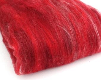Carded Batt Merino & Silk Reds Fine Merino Wool for Spinning or Felting 100g 3.5oz