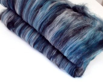 Carded Batt Merino & Silk Fiber Spearmint Fine Merino Wool Spinning and Felting Fibre 50g 100g