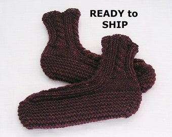 Mens Slippers, Handknitted Bedsocks Mulberry Heather High Cuff,  Size 9 - 10