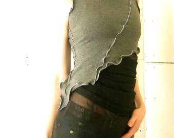 ASYMMETRICAL HALF TOP women| tank tops| shirt| tops| handmade| grey| crop top| half top| cropped
