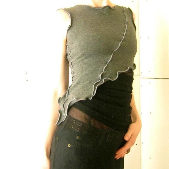 ASYMMETRICAL HALF TOP women| tank tops| shirt| tops| handmade| grey| crop top| half top| cropped