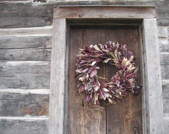 INDIAN CORN HUSK Wreath with Ornamental purple Husks Large Size