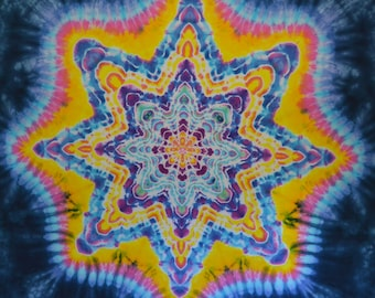 One of a Kind Hand Dyed Tapestry - Tie Dye Hippie Art - Wall Hanging