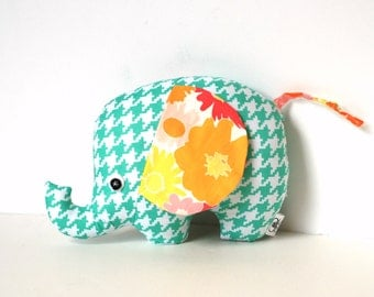 Soft Elephant in Spring Colors Baby Girl Gift Stuffed Elephant Plush Softie - Elephant Pillow
