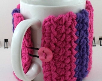 Crocheted Coffee or Ice Cream Cozy in Hot Pink and Purple Cotton with Pink Button (SWG-I08)