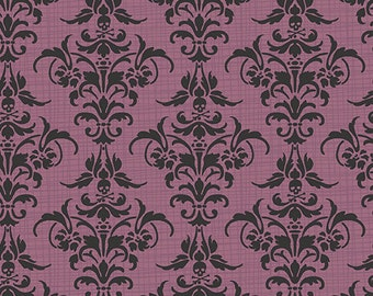 Andover Chillingsworth Plum Damask Skull Quilters Cotton 1 Yard