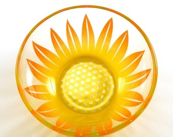 SUMMER SALE Glass Bowl - Wildflower -  Sunshine Orange and Yellow - Custom Painted and Etched Glassware