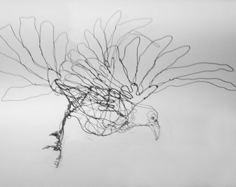 Flying Black Raven-Wire Drawing Sculpture art