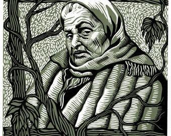 AUNT MARIA linocut portrait