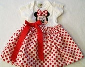 Minnie Mouse Baby Girls Bodysuit Dress Girls Clothing Handmade  Made in the USA #62