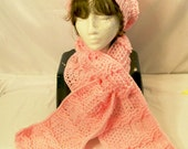 Women's Pink Crochet Hat and Neck Scarf Set, Gift for Mom, Basketweave Hat and scarf, Handmade Hat,Made in the USA,  #4