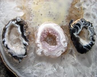 Geode Trio, 2 black clear quartz druzy slices, one white lavender druzy slice