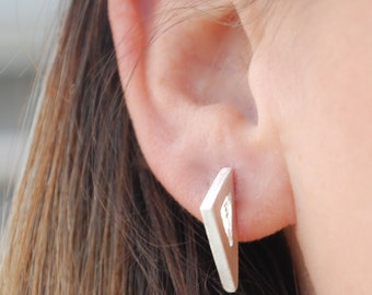 Large Triangle earrings, eco-friendly silver or 14kt gold vermeil.  Handcrafted by Chocolate and Steel